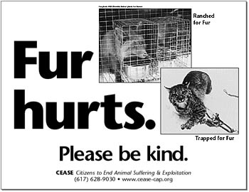 Fur hurts. Please be kind. Images of a fox in a cage and a bobcat in a leghold trap.